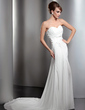 A-Line/Princess Sweetheart Chapel Train Chiffon Wedding Dress With Ruffle Lace Beading Sequins Split Front (002011415)