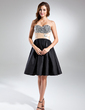 A-Line/Princess Sweetheart Knee-Length Taffeta Homecoming Dress With Ruffle Sash Beading Sequins (022015540)