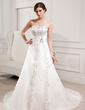A-Line/Princess Sweetheart Chapel Train Satin Organza Wedding Dress With Embroidered Beading (002000305)