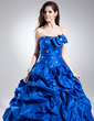 Ball-Gown Sweetheart Floor-Length Taffeta Quinceanera Dress With Ruffle Beading (021015830)
