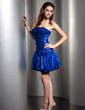 A-Line/Princess Strapless Short/Mini Taffeta Cocktail Dress With Ruffle Beading Flower(s) (016013767)