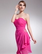 Sheath/Column Strapless Knee-Length Chiffon Homecoming Dress With Beading Cascading Ruffles (022014522)