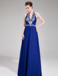 A-Line/Princess Halter Floor-Length Chiffon Prom Dress With Beading (018018890)