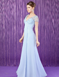 A-Line/Princess V-neck Floor-Length Chiffon Mother of the Bride Dress With Ruffle Beading (008018728)