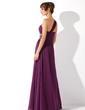 Çan/Prenses Tek-Omuzlu Uzun Etekli Chiffon Mezuniyet Elbisesi Ile Büzgü Boncuklama (018004872)
