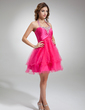 A-Line/Princess Halter Knee-Length Tulle Cocktail Dress With Ruffle Beading Sequins (016016339)