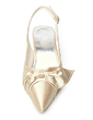 Kadın Saten Makara Topuk Kapalı Toe Pompalar Arkası açık iskarpin Ile İlmek Toka (047005130)