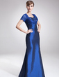 Sheath/Column Sweetheart Floor-Length Taffeta Mother of the Bride Dress With Ruffle Beading Appliques Lace (008005642)