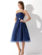 A-Line/Princess Strapless Knee-Length Organza Bridesmaid Dress With Ruffle Crystal Brooch (007001812)