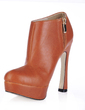 Leatherette Chunky Heel Platform Closed Toe Ankle Boots shoes (088017131)