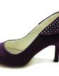 Women's Satin Stiletto Heel Closed Toe Pumps With Rhinestone (047018190)