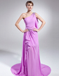 A-Line/Princess One-Shoulder Court Train Chiffon Evening Dress With Beading Split Front Cascading Ruffles (020015027)