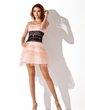 A-Line/Princess Sweetheart Short/Mini Tulle Homecoming Dress With Ruffle Lace Beading Cascading Ruffles (022020876)