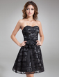 A-Line/Princess Sweetheart Knee-Length Taffeta Lace Cocktail Dress With Bow(s) (016008901)