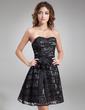 Çan/Prenses Kalp Kesimli Diz Hizası Taffeta Lace Kokteyl Elbisesi (016008901)