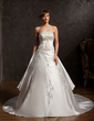 Ball-Gown Strapless Cathedral Train Satin Wedding Dress With Embroidered Beading (002015165)