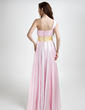 A-Line/Princess One-Shoulder Floor-Length Charmeuse Bridesmaid Dress With Ruffle Sash (020015796)