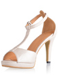 Leatherette Spool Heel Sandals Platform Peep Toe shoes (087033627)