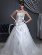 Ball-Gown Sweetheart Chapel Train Charmeuse Tulle Wedding Dress With Ruffle Beading Appliques Lace (002000280)