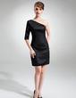 Sheath/Column One-Shoulder Short/Mini Charmeuse Cocktail Dress With Ruffle (016008803)