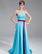 A-Line/Princess Sweetheart Sweep Train Satin Bridesmaid Dress With Sash Bow(s) (007000965)