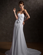 A-Line/Princess Sweetheart Court Train Chiffon Wedding Dress With Ruffle Beading Flower(s) (002011931)