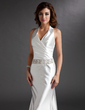 A-Line/Princess Halter Sweep Train Charmeuse Mother of the Bride Dress With Ruffle Beading (008016744)