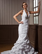 Trumpet/Mermaid Halter Court Train Taffeta Wedding Dress With Ruffle Beading (002001271)