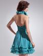 Çan/Prenses Yular Kısa/Mini Chiffon Mezunlar Gecesi Elbisesi Ile Büzgü Boncuklama Pullarda (022010099)