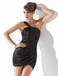 Wąska Jednoramienna Asymetryczna Charmeuse Suknia Koktajlowa Z Żabot (016008260)