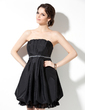Empire Scalloped Neck Short/Mini Taffeta Bridesmaid Dress With Beading Cascading Ruffles (007000825)