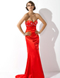 Trumpet/Mermaid Sweetheart Sweep Train Charmeuse Evening Dress With Beading (017002271)
