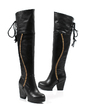 Leatherette Chunky Heel Knee High Boots With Rhinestone shoes (088039899)