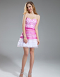 A-Line/Princess Sweetheart Short/Mini Organza Prom Dress With Beading Flower(s) (018018854)