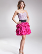 A-Line/Princess Sweetheart Short/Mini Taffeta Homecoming Dress With Sash Beading Sequins Cascading Ruffles (022010039)