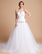 Ball-Gown Sweetheart Chapel Train Tulle Wedding Dress With Ruffle Lace Beading (002012678)