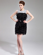 Sheath/Column Scoop Neck Short/Mini Feather Cocktail Dress With Beading Sequins (016008551)