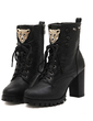 Leatherette Chunky Heel Ankle Boots With Lace-up shoes (088055550)