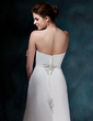 A-Line/Princess Sweetheart Chapel Train Chiffon Wedding Dress With Ruffle Beading Sequins (002001680)