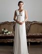 A-Line/Princess V-neck Floor-Length Chiffon Tulle Wedding Dress With Ruffle Beading (002013800)