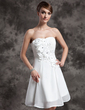 A-Line/Princess Sweetheart Knee-Length Chiffon Wedding Dress With Beading Flower(s) (002024072)