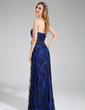 Sheath/Column Sweetheart Floor-Length Charmeuse Lace Bridesmaid Dress With Flower(s) (007019606)