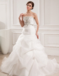 Ball-Gown Sweetheart Chapel Train Satin Organza Wedding Dress With Embroidered Ruffle Beading (002008182)