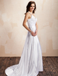 A-Line/Princess Halter Court Train Charmeuse Lace Wedding Dress With Ruffle (002012054)
