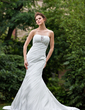 Trumpet/Mermaid Strapless Cathedral Train Taffeta Wedding Dress With Ruffle Lace Beading (002011997)