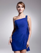Sheath/Column One-Shoulder Short/Mini Chiffon Homecoming Dress With Beading Cascading Ruffles (022014507)