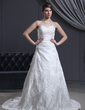 A-Line/Princess Sweetheart Chapel Train Satin Wedding Dress With Beading Appliques Lace (002000310)