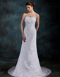 Sheath/Column Sweetheart Court Train Lace Wedding Dress With Ruffle Beading Sequins (002000202)
