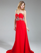 A-Line/Princess Sweetheart Sweep Train Chiffon Prom Dress With Ruffle Beading Sequins (018018859)