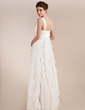 Empire Sweetheart Floor-Length Chiffon Wedding Dress With Bow(s) Cascading Ruffles (002011682)